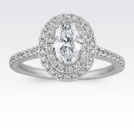 Double Halo Diamond Engagement Ring for 1.00 Carat Oval (I love oval halo rings!)