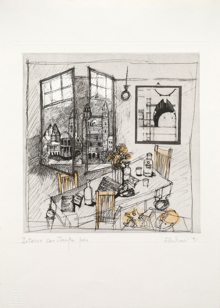 Aldo Rossi, Interno con stampa. (Interior with Etching) 1991, Etching with watercolor on paper