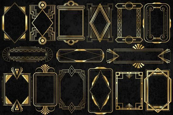 Gold Art Deco Frames Clipart Vintage Retro Frame Png And Etsy Art Deco Design Graphics Clip Art Vintage Gold Art Deco