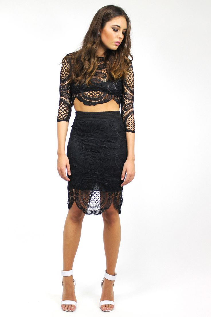 KENDALL LACE TOP & SKIRT SET  STYLE DETAILS:  Black crochet lace style top and skirt set Crew neckline  Stretch waist skirt Zipper up back of see-through top 3/4 length sleeves  FIT DETAILS:  Comfortable lace fabric Slight stretch in skirt Standard Australian sizing  STYLING:  This set is an elegant pair, ready-to-wear for nights out on the town Can be worn with a favourite pair of heels or even mix and match the set pieces with a t-shirt or denim shorts