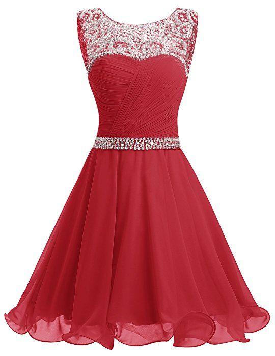 Dresstells® Short Chiffon Open Back Prom Dress With Beading Homecoming Dress Pink Size 6