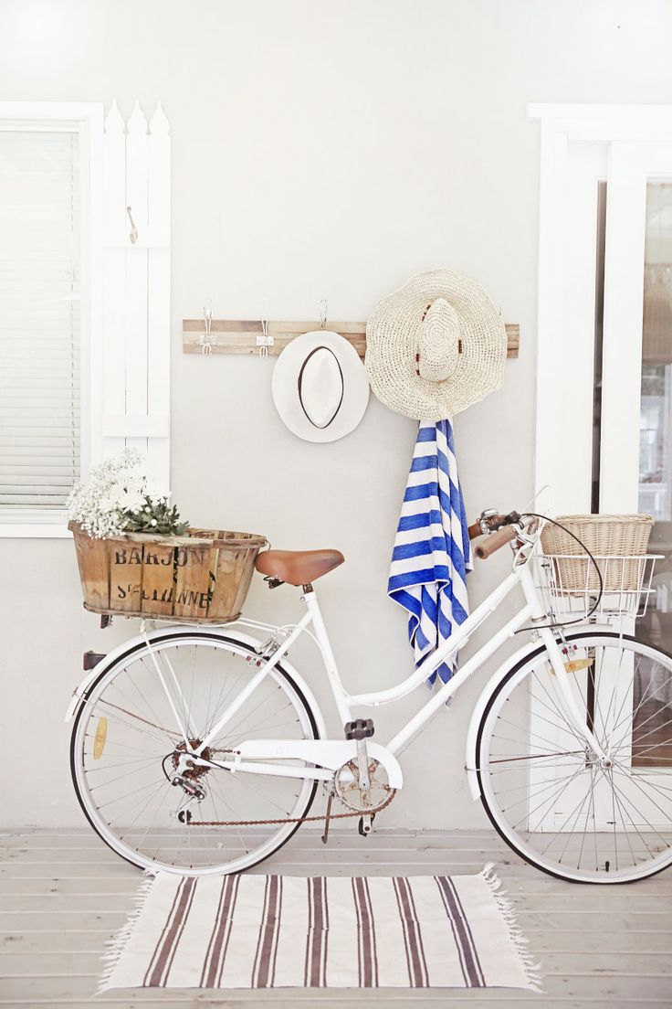 love a white cruiser bike, old french basket, nautical stripes, deck and beach hats x vintage bike