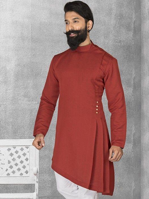 cb57c3e847 Maroon Terry Rayon Plain Short Pathani, latest designer pathani kurta for  men, designer short kurta for function, designer short kurta for wedding,  ...