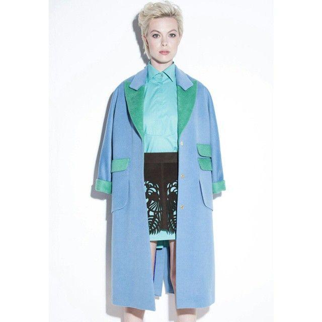 #2015#fashion #overcoat #coat #perforation #blue #green #greenblue #Moscow #юбка #перфорация #мятный #голубой #пальто #платьерубашка #Москва #nakedstudio