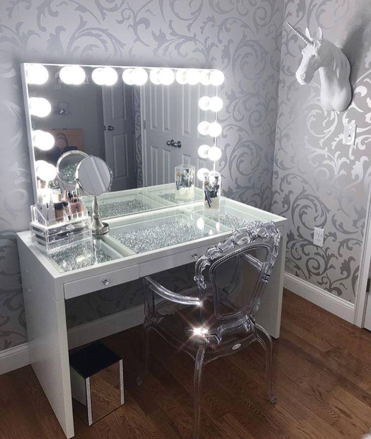 The wallpaper in the vanity room.