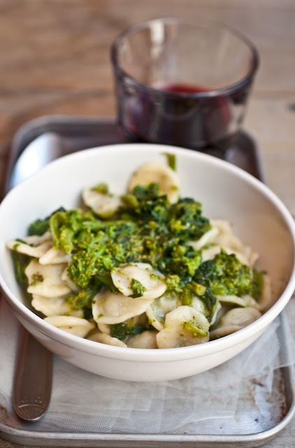 Orecchiette ( with typical short, ear-shaped pasta from Puglia) with turnip tops