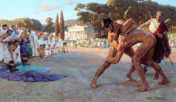 Ancient Greek wrestling or Pále (πάλη), was the most popular organized sport in Ancient Greece. A point was scored when one player touched the ground with his back, hip, shoulder, or tapped out due to a submission-hold or was forced out of the wrestling-area. Three points had to be scored to win the match.
