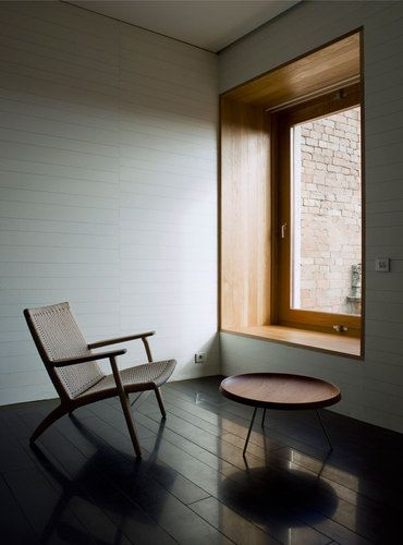 Atrium Relais Chateaux. Wooden reveal by Spanish architects Mansilla + Tunon Arquitectos.