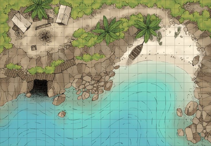 The Pirate's Cove, a battle map for D&D / Dungeons & Dragons, Pathfinder, Warhammer and other table top RPGs. Tags: sea, beach, ship, pirate, lair, camp, tropical, cave