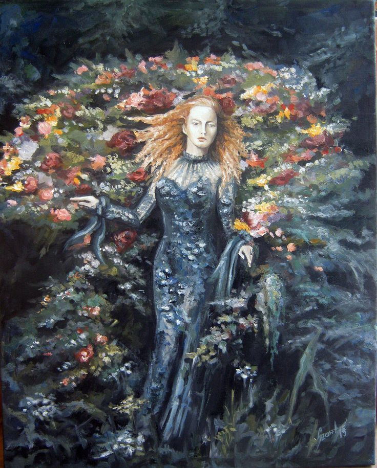 Rose, lady and flowers, oil painting