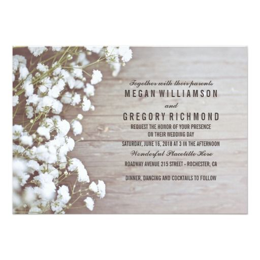 Floral- Baby's Breath Rustic Summer Simple Wedding Card