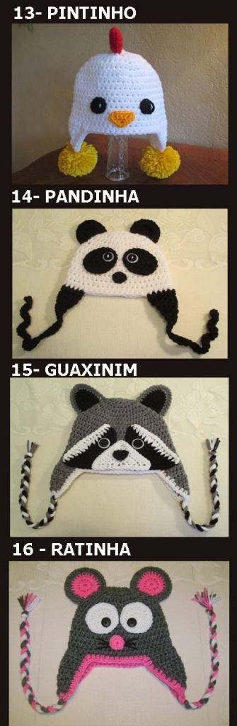 Touca de Crochê de Animais / Bichinhos - Tamanho infantil e adulto - Art Crochê - acessorios newborn conjuntos toucas e mantas para bebês