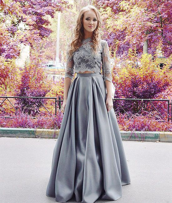 Unique gray two pieces long prom dress, evening dress, occasion dress, formal dress for teens