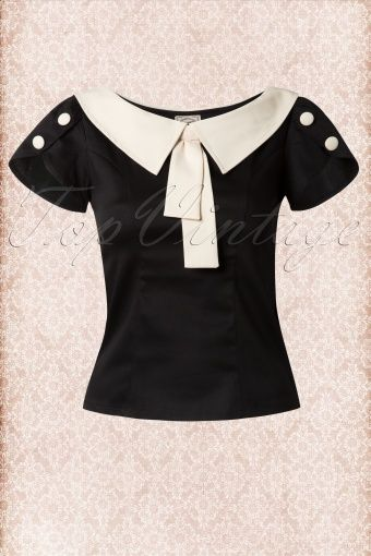 Banned 40s Frou Frou Top in Black and Creme 110 10 14172 20140907 0004W