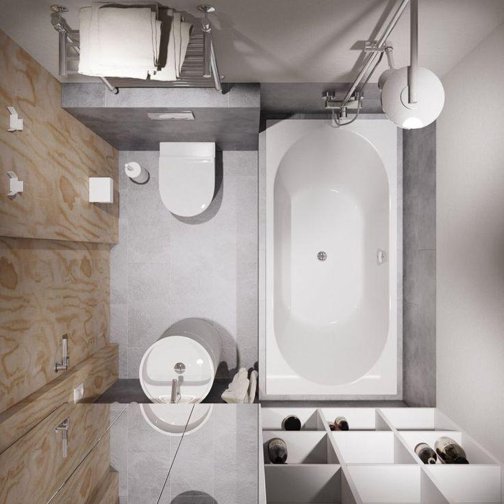 Kis fürdőszoba berendezés ötlet szürke, fehér, fa dekorációval, fürdőkáddal