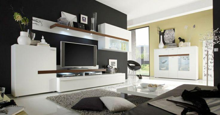 PEACHES Wohnwand II weiß/Virginia Walnut - erfrischendes Design #living #moebel #weiß