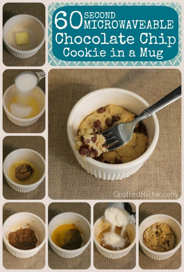 Chocolate Chip Cookie in a Mug ** I just made this. Pretty good! Make sure to add the salt, otherwise it won't taste right** and now I made it and refused to share after taking the first bite. Sooooo good! Do t add too much Flour, and DON'T OVEECOOK!!!