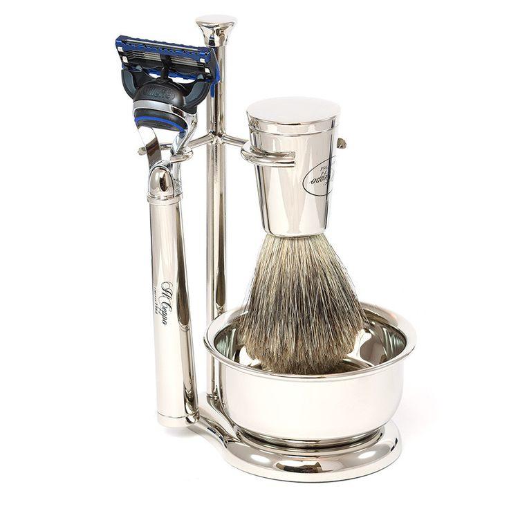Il Ceppo Vespucci 4-Piece Fusion Shaving Set with Best Badger Brush, Chrome