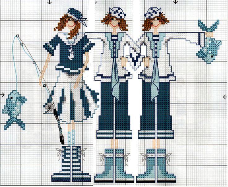 0 point de croix jeunes femmes en marin pechant - cross stitch young girls in sailor clothes fishing