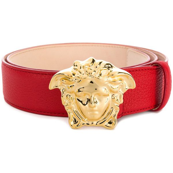 Versace Medusa buckle belt ($525) ❤ liked on Polyvore featuring men's fashion, men's accessories, men's belts, red, mens red belt, mens leather belts, mens genuine leather belts, mens leather accessories and mens real leather belts