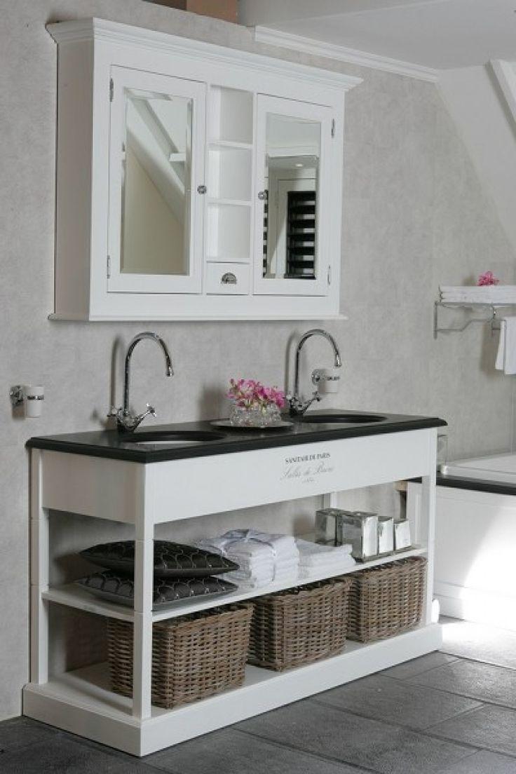 Waschtisch Weiss Doppelwaschtisch Weiss Im Landhausstil Breite 132 Cm Mit Bildern Waschtisch Landhaus Doppelwaschtisch Waschtisch
