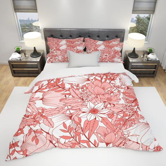 Coral Color Floral Print Comforter Or Duvet Cover Twin Queen