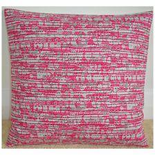 "16"" Cushion Cover Hot Pink Silver Grey And White Fuchsia Fuschia Bright"