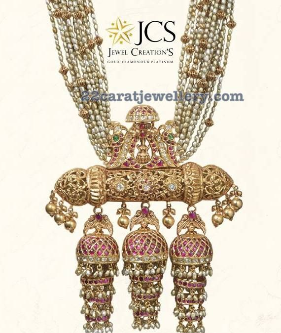 22 carat gold nakshi balls and small pearls combination multi strings necklace from JCS Creations
