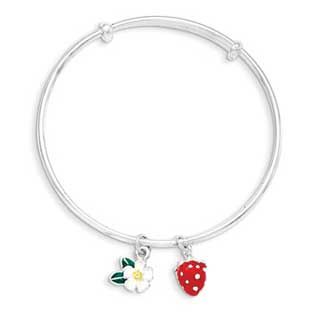 Kid's Adjustable Sterling Silver Strawberry Flower Charm Bangle Bracelet Available Exclusively at Gemologica.com