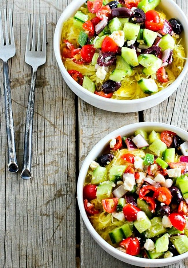 I M Not Sure Why Decided To Combine Greek Salad And Spaghetti Squash But This Bowl Was Definitely A Winner