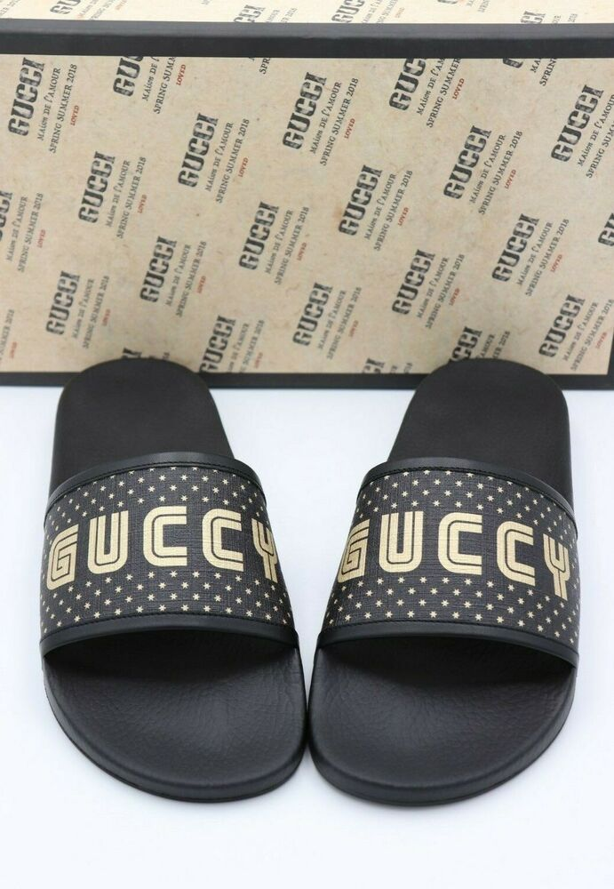 6c40d796c NIB GUCCI Mens Black Supreme Canvas Gold Stars Slide Sandals 12.5  450   Gucci  Slides