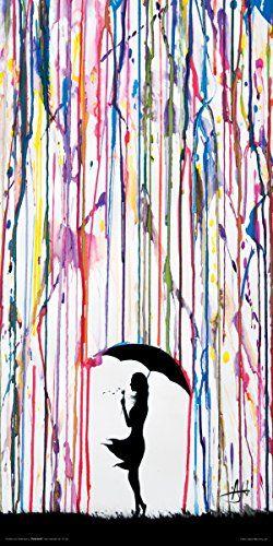 Marc Allante Girl Blowing Dandelion Under Umbrella Paint Rain Modern Contemporary Decorative Art Poster Print 12x24