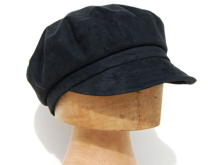 07f80dcebb1ee Faux leather work cap Vegan clothing Peaked cap Vegan gift Trendy hat  French hat Gift for her Suede cap newsboy cap ZUT hat Fishermans cap