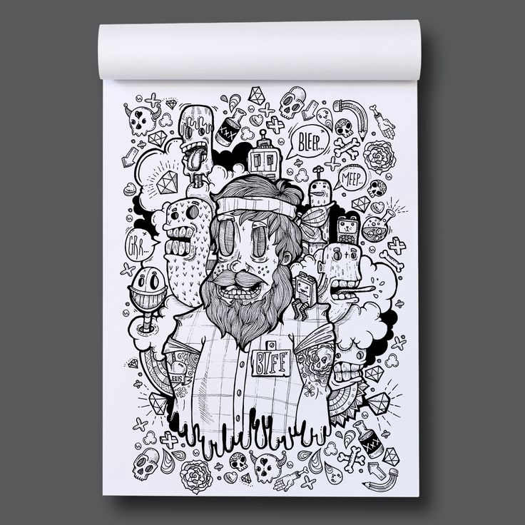 Page out of Eye-Scream Sunday A colouring book by Romzillustration.com