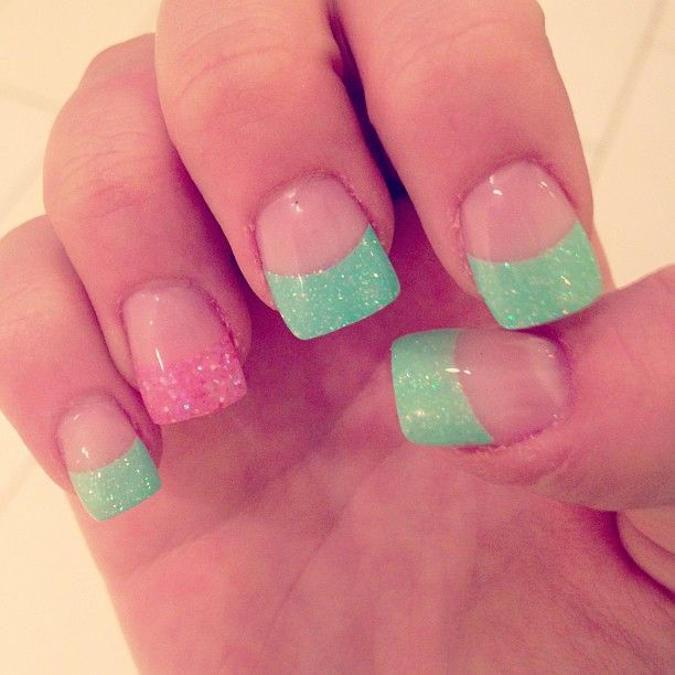 French Mani with Pink & Green Glitter Tips. I like the ...