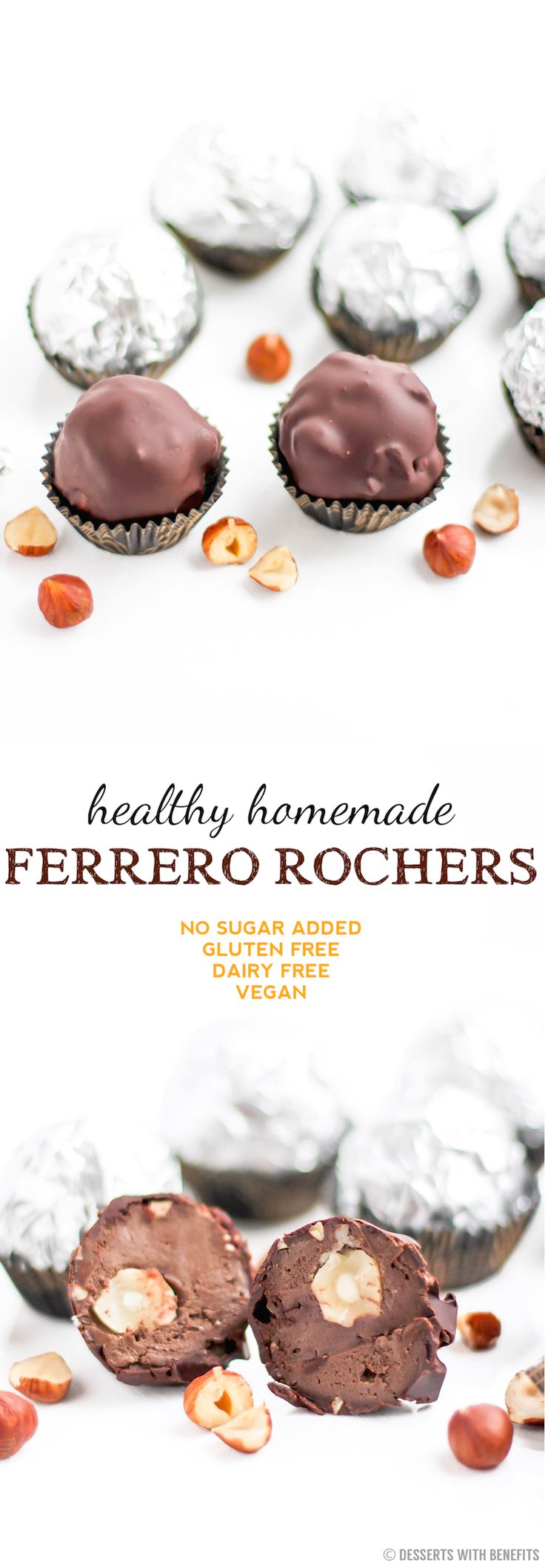 Healthy Homemade Ferrero Rochers! Only 7 ingredients, with a secret or two... [low sugar, high fiber, high protein, gluten free, dairy free, vegan] -- for a truly low carb version, just use sugar-free chocolate!