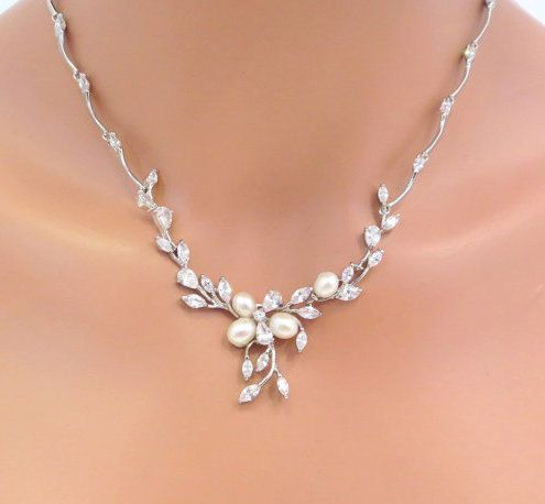 Bridal pearl and rhinestone jewelry set, Freshwater pearl necklace and earrings, Wedding jewelry, Cubic zirconia jewelry