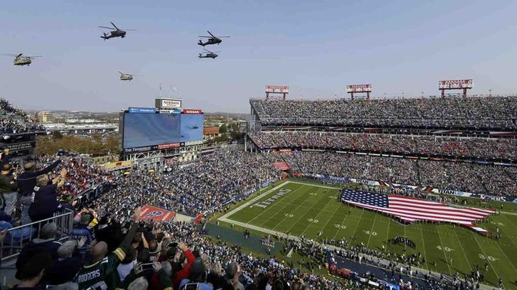 Packers vs. Titans:  47-25, Titans  -  November 13, 2016  -       Helicopters fly over Nissan Stadium during the Salute to Service pregame activities before an NFL game between the Tennessee Titans and the Green Bay Packers on Sunday, Nov. 13, 2016, in Nashville, Tenn.