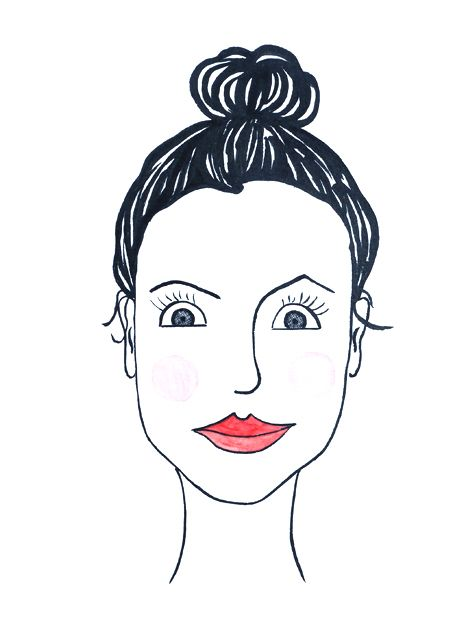 Portrait Frau mit Dutt,  lustig, comicartig, liebevoll, Karikatur, Tusche auf Künstlerpapier Din A4