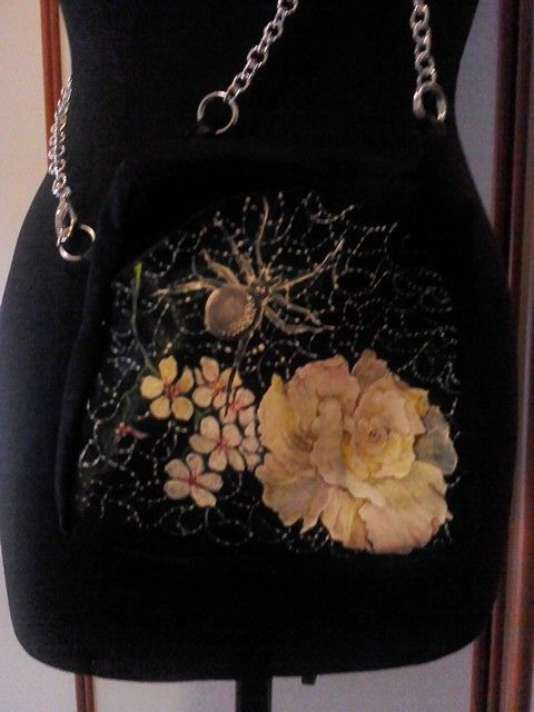 Particular of little black bag handmade and painted by Irene Ferrante