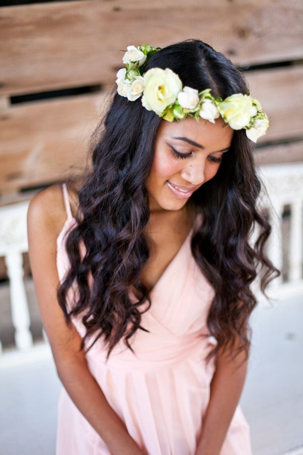 bridesmaid hair ideas #bridesmaidhair #rusticwedding #bridesmaid http://www.weddingchicks.com/2013/10/30/peach-and-cream-garden-wedding/