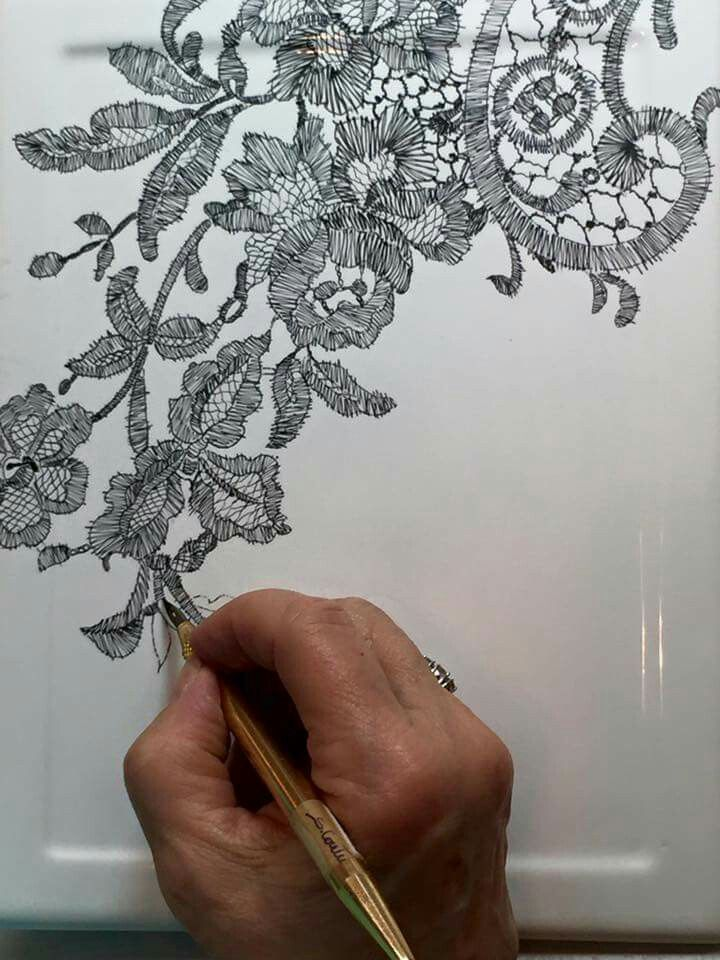 Mariela lace stiching  with ink