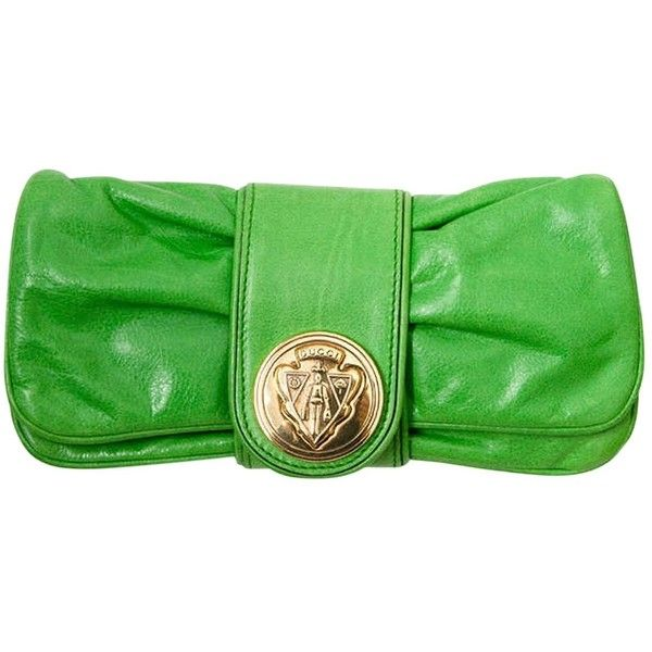 Pre-owned Gucci Hysteria Leather Clutch Bag ($310) ❤ liked on Polyvore featuring bags, handbags, clutches, green, preowned handbags, green clutches, gucci clutches, pre owned handbags and leather handbags