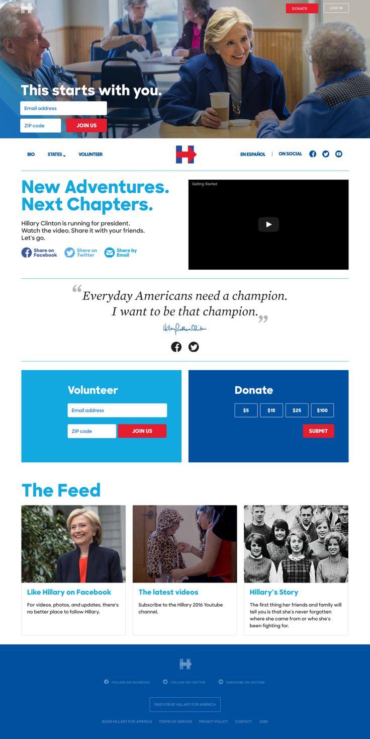 www.hillaryclinton.com - Typisch Amerikaans. Website voor presidentschap van Hilary Clinton, zonder ook maar énige inhoud over haar politieke agenda. Toch erg toffe UX. (vette hero, goede typografie)