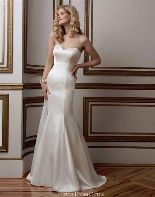 Fit & Flare Charmeuse Satin Mermaid Gown with a Strapless Sweetheart Neckline, Satin Fitted Bodice Past Hips, Chapel Train, and Mid V-Back with Covered Buttons.
