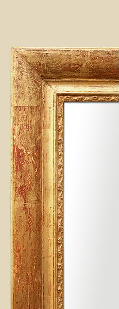 Cadre miroir cheminée bois doré patiné décors gravés fleurs