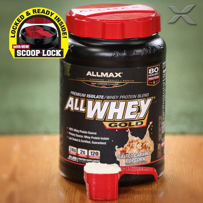 #ALLWHEYGold is a 100% #wheyprotein isolate-concentrate with an 80% protein yield and a protein enzyme blend of (Protease & Bromelain) for optimal protein absorption and digestion.  Featuring our #SCOOPLOCK technology that is ergonomically designed to lock your scoop into place the first time and every time! And it's right there at the top of your ALLWHEY Gold when you open it.