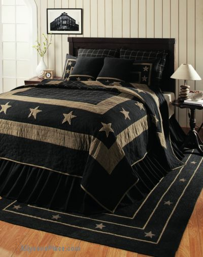 Burlap Star Black Bedding Quilted / Like us on Facebook!  https://www.facebook.com/AllysonsPlaceDecor / #Primitive #country #Cabin