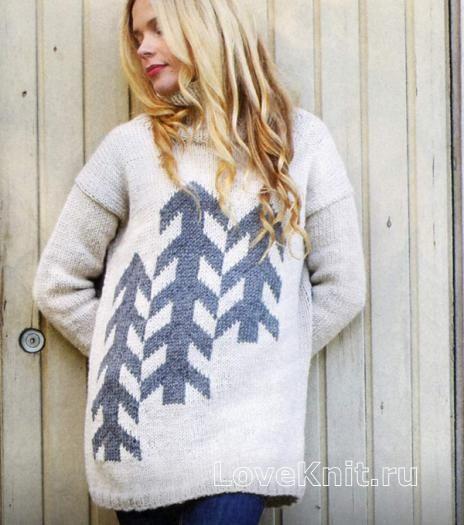 Схема спицами свободный свитер с контрастным рисунком