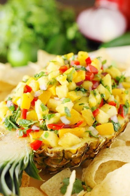Peach-Pineapple Salsa ~ A simply gorgeous deliciously-sweet-&-spicy salsa, perfect for dipping.  #FlavorYourFiesta #ad   www.thekitchenismyplayground.com
